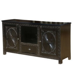 Jacobean Hand Carved Mango Wood TV Stand Media Console