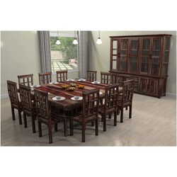 Dallas Ranch Square Pedestal Large Dining Table Chair Hutch Set