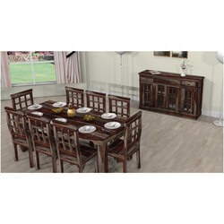 Farmhouse Solid Wood Dining Table, Chairs & Sideboard Set