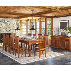 Large Solid Wood Rustic Dining Table Chair Hutch Set Furniture
