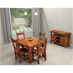 Rustic Mission Santa Cruz Solid Wood Dining Room Set For 4 People