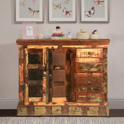 Pioneer Rustic Wooden Patches Reclaimed Wood Buffet Cabinet