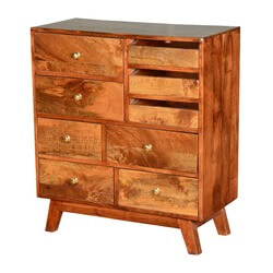 Rustic Retro Mango Wood Rustic 9-Drawer Dresser Chest