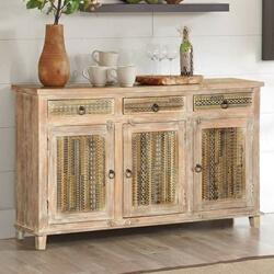 Modern Mosaic Winter White Mango Wood Buffet Cabinet