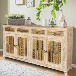 "Modern Mosaic Winter White Mango Wood 70.5"" Sideboard Cabinet"
