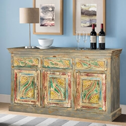 "Van Gogh Swirls Mango Wood 59.5"" Three Door Buffet Cabinet"
