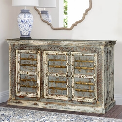 "Gothic Winter Mango Wood 59"" Sideboard Buffet Cabinet"
