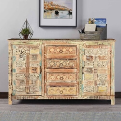 Wooden Patches Hand Carved Mango Wood Sideboard Cabinet