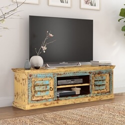Rustic Blue & Yellow Mango Wood TV Console Media Cabinet