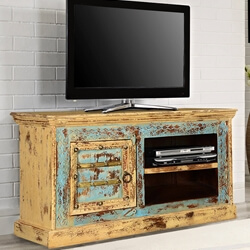 "Rustic Blue & Yellow Mango Wood 47"" Television Console Media Island"