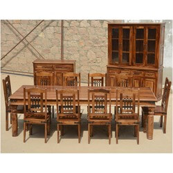 Camelot 13p Solid Wood Dining Set Buffet Breakfront Table