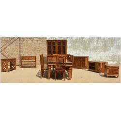 Pioneer Rustic Solid Wood 17pc Dining & Living Room Set