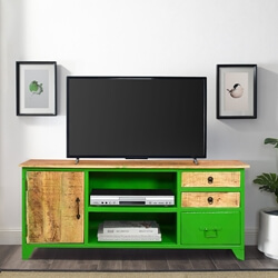 Granny Smith Green Wood & Industrial Iron TV Console Media Console