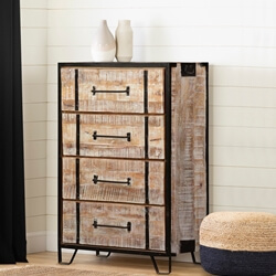 Winter White Industrial Mango Wood & Iron 4-Drawer Dresser