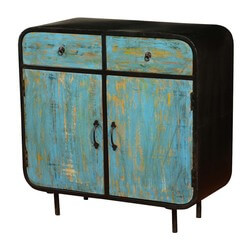 Blue & Black Retro Mango Wood & Iron Freestanding Cabinet