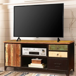 Industrial Rustic Reclaimed Wood & Iron TV Console Media Cabinet