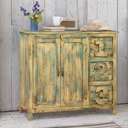 1-2-3 Mango Wood Blue Freestanding Buffet Cabinet w Drawers