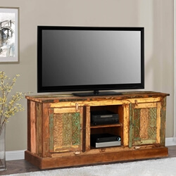 Pioneer Rustic Reclaimed Wood TV Console Entertainment Center