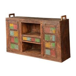 "Textured Colors Mango Wood 65"" Display Buffet Cabinet"