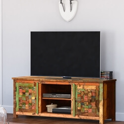 "Textured Tiles Reclaimed Wood 60"" TV Console Media Cabinet"