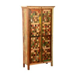 "Textured Tiles Reclaimed Wood 71.5"" Armoire Wardrobe Cabinet"
