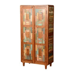 Distressed Mondrian Teak & Reclaimed Wood Armoire Wardrobe