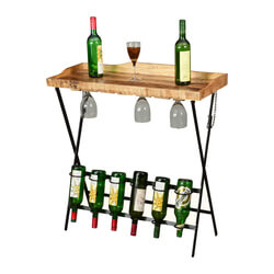 Portable Party Wood & Iron Industrial Folding Wine & Liquor Bar Table