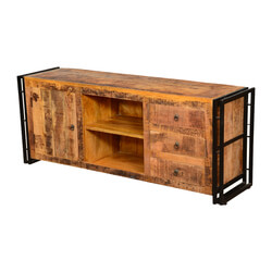 Pioneer Rustic Mango Wood & Iron TV Console Media Cabinet