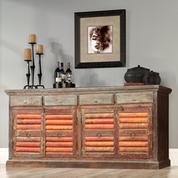 Rustic Reclaimed Wood Storage Cabinet Classic Sideboard Buffet