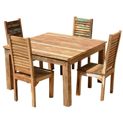5Pc Ohio Rustic Reclaimed Wood Dining Table & Shutter Back Chairs Set