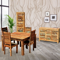 Ohio Reclaimed Wood Square Dining Table Chair Buffet Cabinet Set
