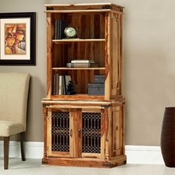 Dallas Ranch Solid Wood Open Breakfront Hutch Cabinet