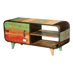 Retro Rainbow Reclaimed Wood & Iron TV Console Media Cabinet