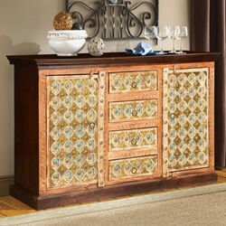 Turkish Peach & Gold Mango Wood Sideboard Cabinet