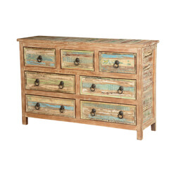 Rustic Stripes Mango Wood Standing 7-Drawer Dresser