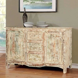 Antique White Mango Wood Standing Sideboard Buffet Cabinet