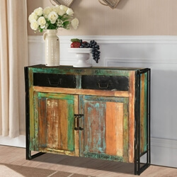 Industrial Colors Reclaimed Wood & Iron Freestanding Buffet Cabinet