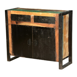 Industrial Midnight Reclaimed Wood & Iron Freestanding Cabinet