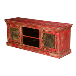 "Flaming Red Mango Wood 59"" TV Console Media Cabinet"