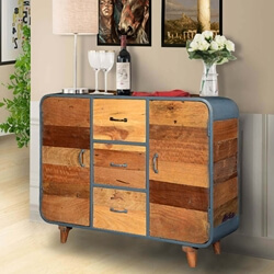 Rustic Retro Reclaimed Wood & Iron 3-Drawer Buffet Cabinet