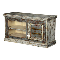White & Grey Speckled Mango Wood TV Console Entertainment Cabinet