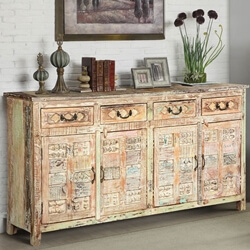 Primitive Carvings Distressed Mango Wood Sideboard Buffet