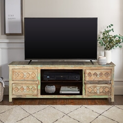 Country Diamonds Mango Wood Rustic TV Console Media Cabinet