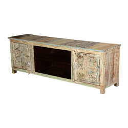 Primitive Carvings Solid Wood TV Media Console Entertainment Cabinet