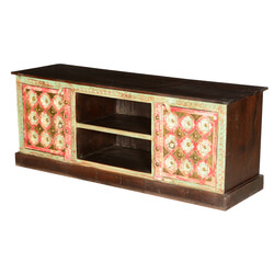 Golden Gothic Pink & White Mango Wood TV Console Media Cabinet