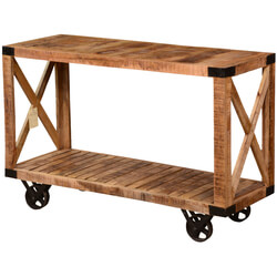Industrial X Square Mango Wood & Iron Rolling Console Table Cart