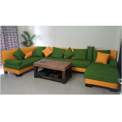 Retro Green & Orange 4pc Sectional & Leather Upholstered Coffee Table