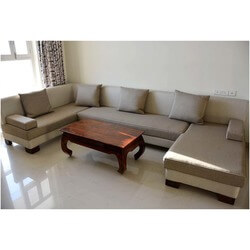 60's Retro Hardwood & Fabric 3-pc Sectional Sofas & Coffee Table