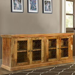 "Twisted Hearts Grille Mango Wood & Iron 66"" Sideboard Cabinet"