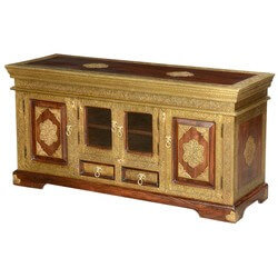 "Golden Blossoms Mango Wood & Brass Inlay 57"" Buffet Cabinet"